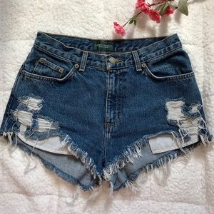 Ralph Lauren destroyed denim shorts